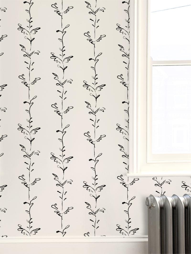 Stem black white wallpaper
