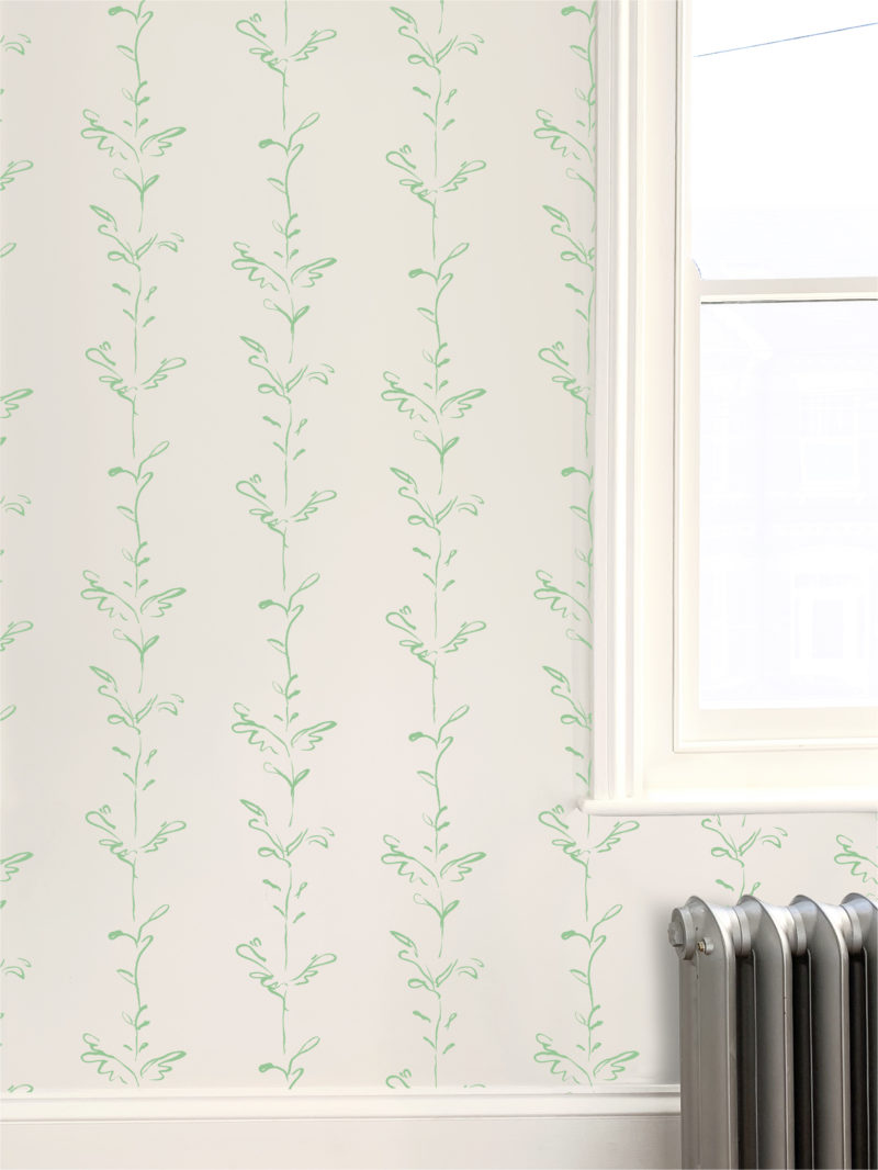Stem green white wallpaper