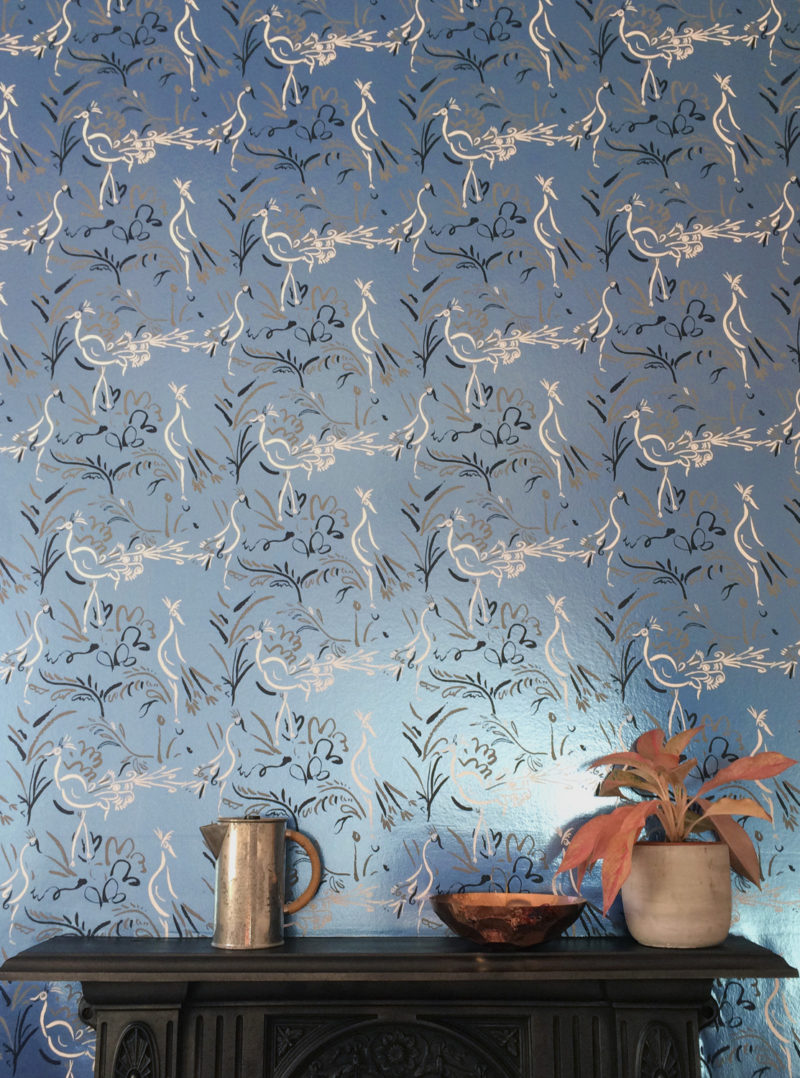 Birds metallic blue wallpaper